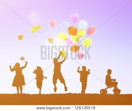 Balloon Activity Casual Cheerful Children Youth Concept