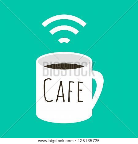 Wifi cafe vector illustration. A cup of coffee and wi fi sign. Internet free zone sign in flat style.