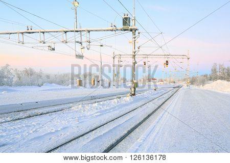 Winter Railroad platform in Kiruna Lapland train station sweden