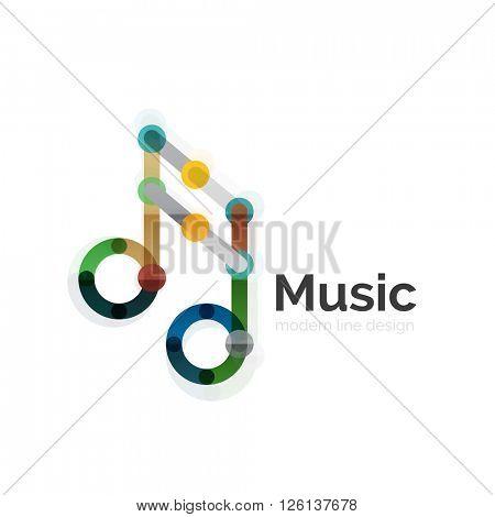 Music note logo, flat thin line geometric design isolated on white