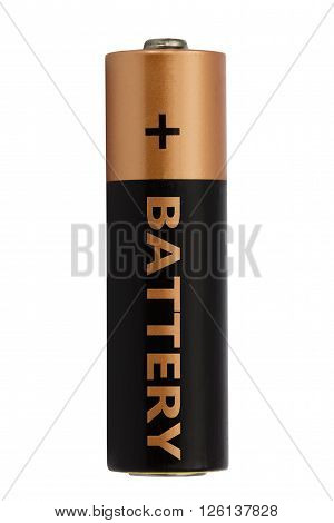 One AA battery isolated on white with clipping path