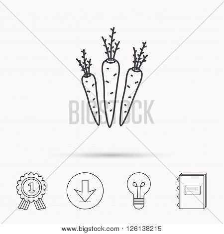 Carrots icon. Vegetarian food sign. Natural vegetables symbol. Download arrow, lamp, learn book and award medal icons.