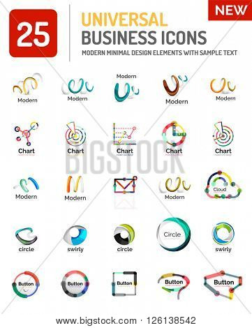 Abstract business icons, vector logo collection