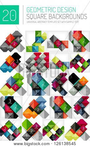 Mega collection of square geometric backgrounds and web boxes with option infographics sample text