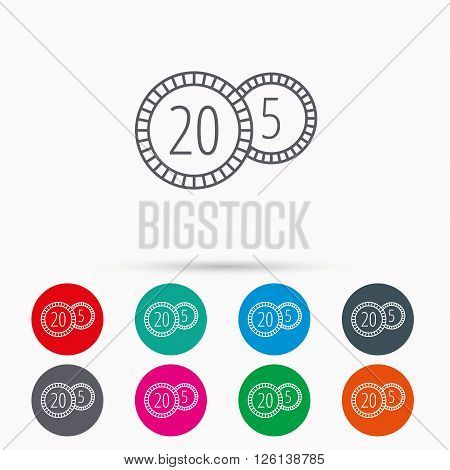 Coins icon. Cash money sign. Bank finance symbol. Twenty and five cents. Linear icons in circles on white background.