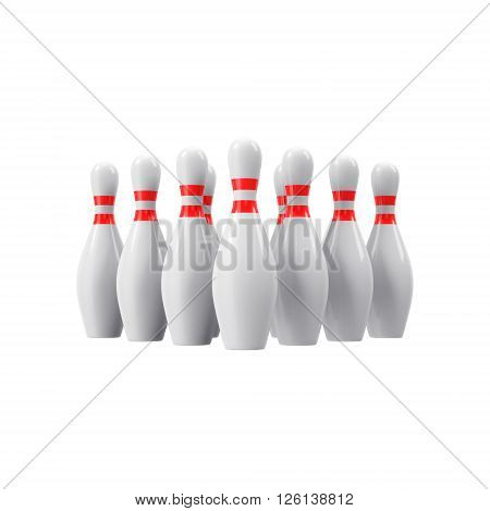 Bowling pins with perspective. For logo, wallpaper, print etc. 3D rendering