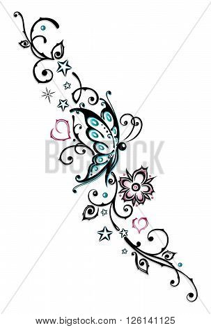 Feminine Tribal with flowers, hearts and butterfly.