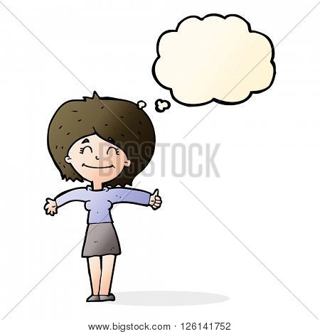 cartoon woman giving thumbs up sign with thought bubble