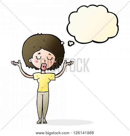 cartoon peaceful woman with thought bubble