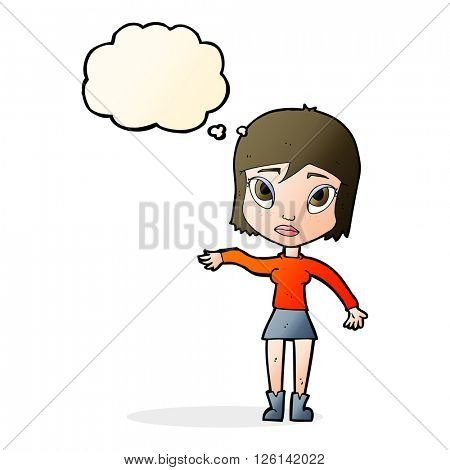 cartoon woman waving hand with thought bubble