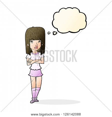 cartoon girl with crossed arms with thought bubble
