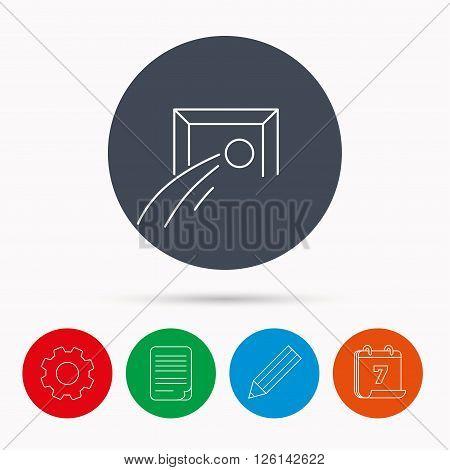 Football goalkeeper icon. Soccer sport sign. Team goal game symbol. Calendar, cogwheel, document file and pencil icons.