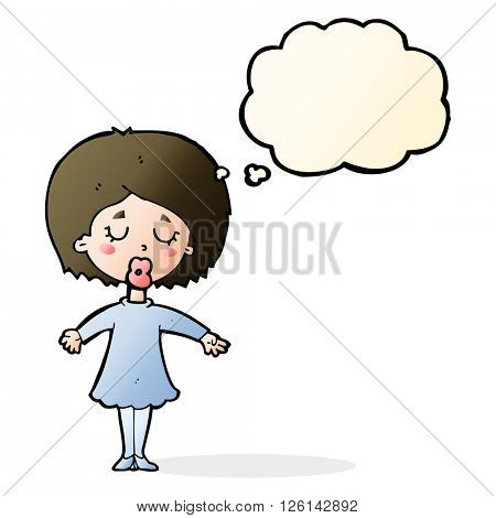 cartoon woman in dress with thought bubble