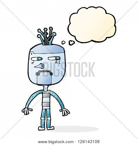 funny cartoon robot with thought bubble