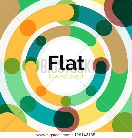 Geometric swirl and circle lines abstract background. Vector flat design illustration