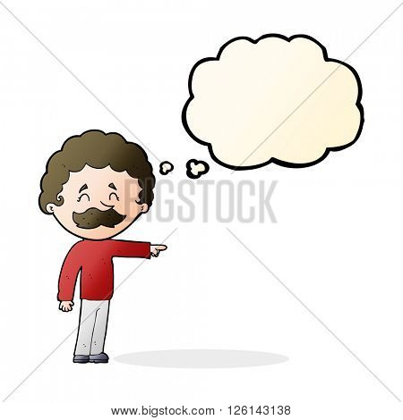 cartoon man with mustache pointing with thought bubble