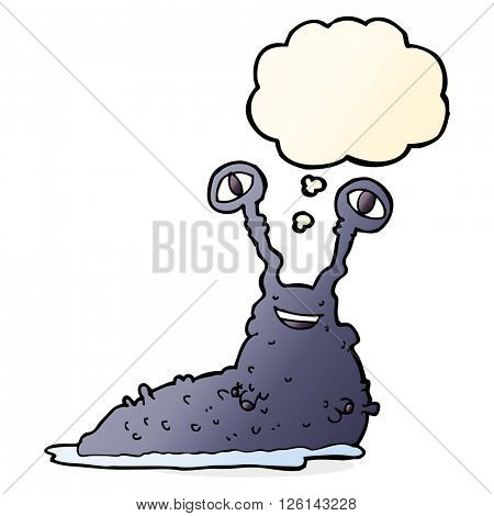 cartoon slug with thought bubble
