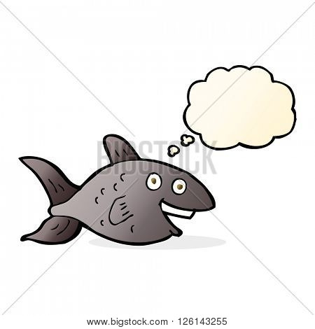 cartoon fish with thought bubble