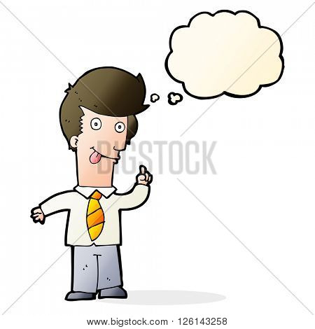 cartoon office man with crazy idea with thought bubble
