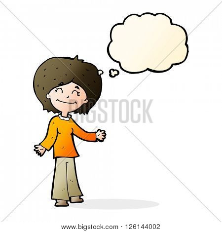 cartoon happy woman with thought bubble