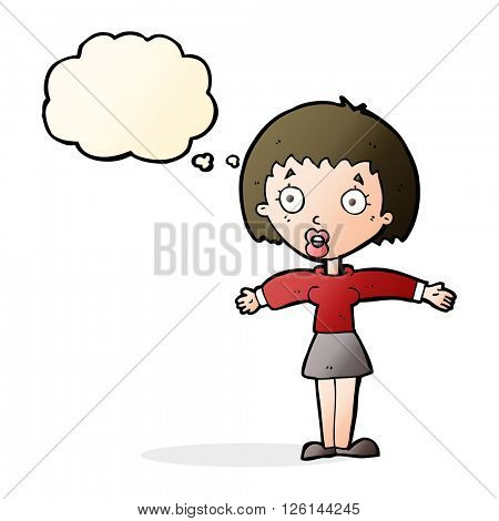 cartoon shocked woman with thought bubble