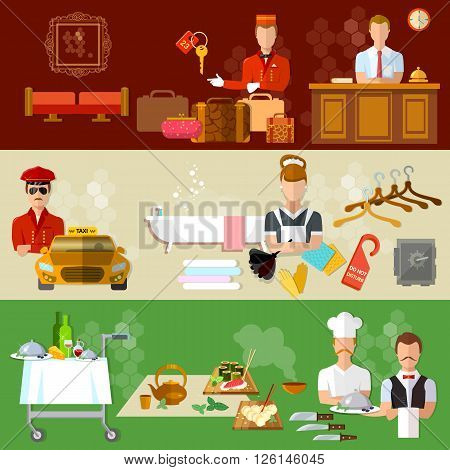 Hotel service banners professional hotel staff motel vector illustration