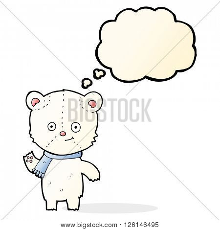 cartoon polar bear waving with thought bubble