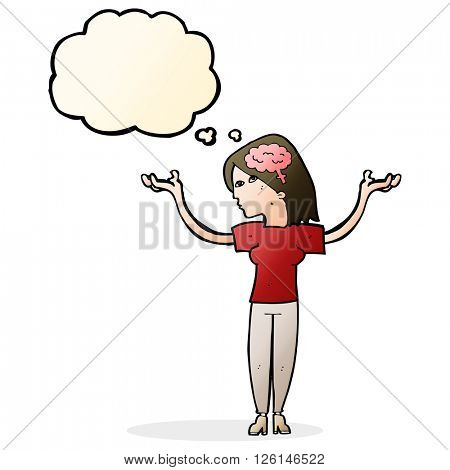 cartoon intelligent woman with thought bubble
