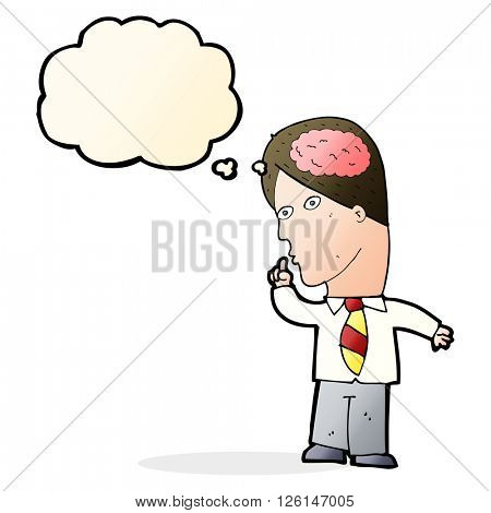 cartoon businessman with huge brain with thought bubble