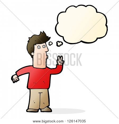 cartoon man giving peace sign with thought bubble