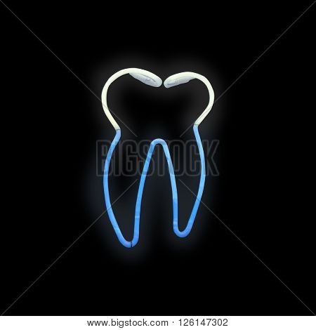 A dentist sign on black