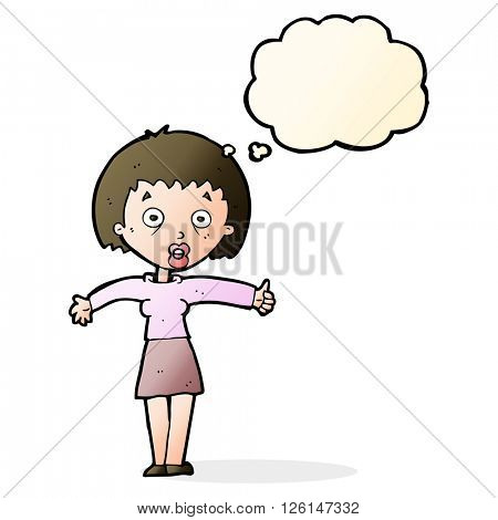 cartoon amazed woman with thought bubble