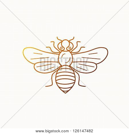 Honey bee icon illustration. Honey bee vector symbol. Bee icon for logo honey design. Outline style honey bee icon. Vector icon honey bee. Mead bee illustration