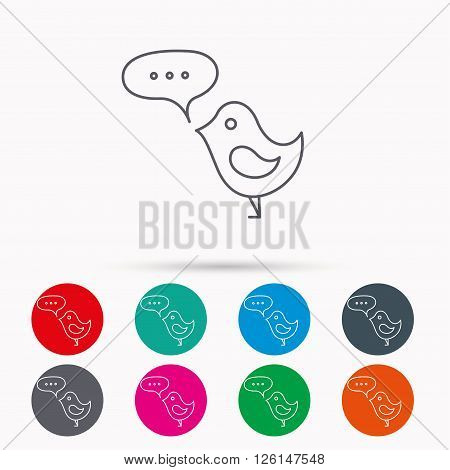 Bird with speech bubble icon. Chat talk sign. Cute small fowl symbol. Linear icons in circles on white background.