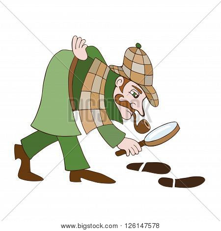 Detective Cartoon illustration of a detective on a white background