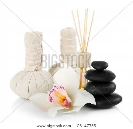 Spa treatment isolated on white.