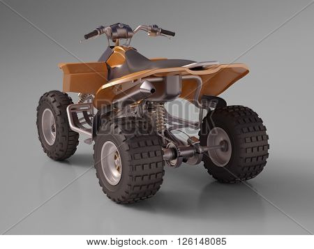 3d rendering: ATV quad bike, studio shooting, soft lighting