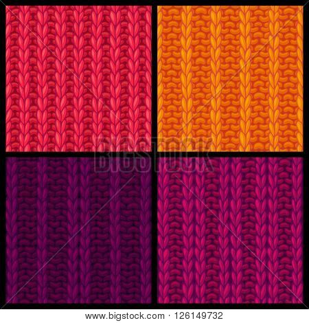 Vector Set Of Colourful Ribbing Stitch Patterns.