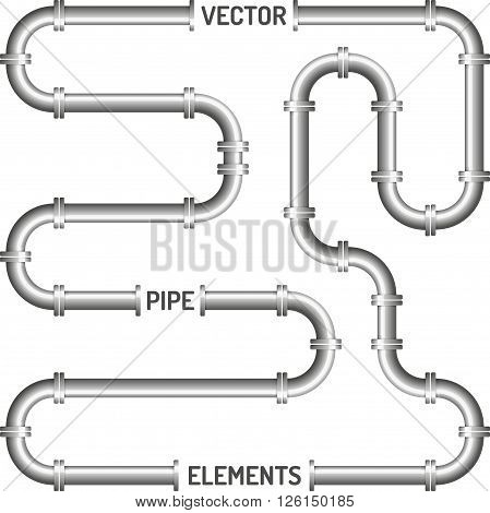 Pipe on the white background. Vector design elements
