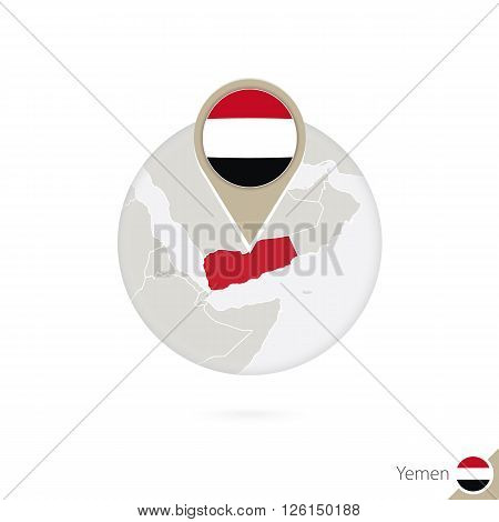 Yemen Map And Flag In Circle. Map Of Yemen, Yemen Flag Pin. Map Of Yemen In The Style Of The Globe.