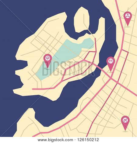 Vector flat abstract island map with pin pointers and infrastructure icons