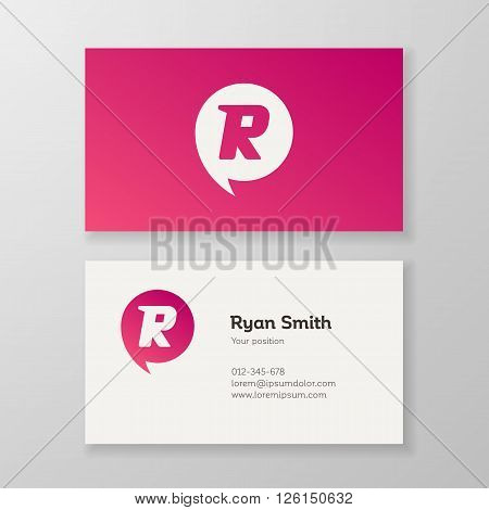 Modern letter R in speech bubble Business card template. Vector design. Layered editable.