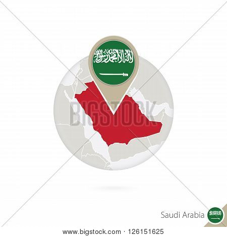 Saudi Arabia Map And Flag In Circle. Map Of Saudi Arabia, Saudi Arabia Flag Pin. Map Of Saudi Arabia