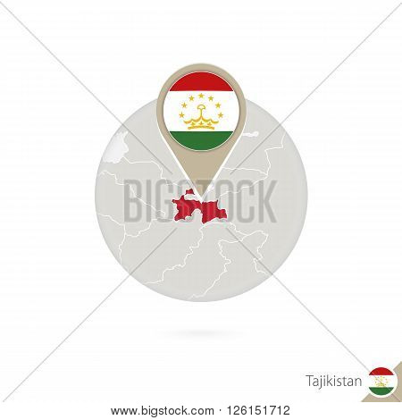Tajikistan map and flag in circle. Map of Tajikistan Tajikistan flag pin. Map of Tajikistan in the style of the globe. Vector Illustration.