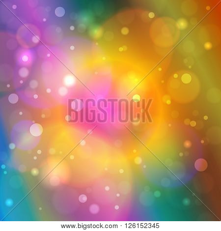 Vibrant Bright Abstract Bokeh Background , Defocused Lights, Vector Illustration