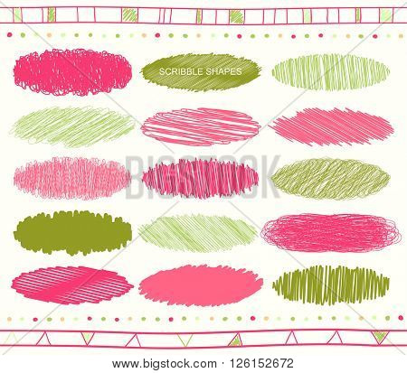 Vector collection of retro scribbled lines with hand drawn style of green, red and magenta colors