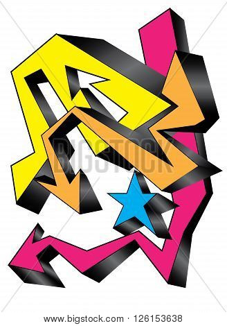 full color Graffiti background on isolated .