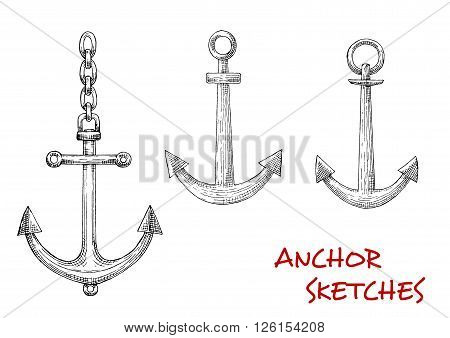 Navy heraldic retro sketches of admiralty marine anchors with attached chains. May be used as maritime mascot, naval symbol or marine sport design