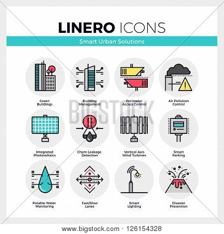 Line icons set of smart urban solution city technology. Modern color flat design linear pictogram collection. Outline vector concept of mono stroke symbol pack. Premium quality web graphics material.