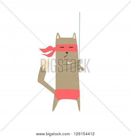 Samurai Cat With Sword Flat Geometrical Design Cool  Vector Icon On White Background
